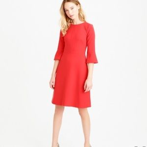 J.crew bell sleeve crepe dress in coral